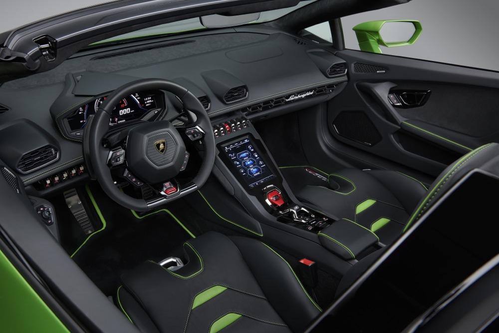 Infotainment di Lamborghini Huracan Evo Spyder
