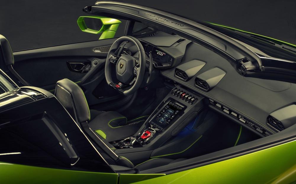 Interni di Lamborghini Huracan Evo Spyder
