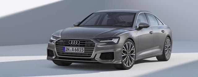 Nuova Audi A6 grigia statica al Salone di Ginevra 2018