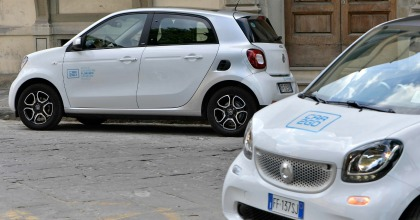 Il car sharing car2go in una foto generica del servizio a Firenze