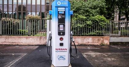 Una colonnina di ricarica per auto elettriche installata a Milano nel contesto del progetto E-moving