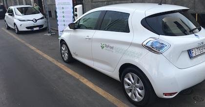 I mezzi del corporate car sharing elettrico di ReFeel eMobility in dotazione a Spaces