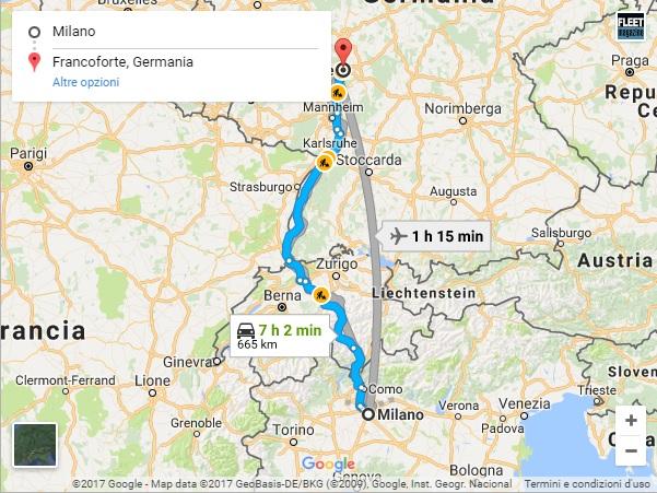 Distanza Milano-Francoforte