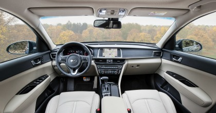 La Kia Optima vista dall'interno