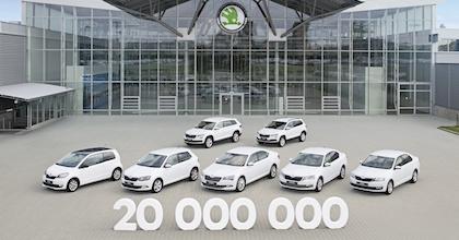 La gamma Škoda fotografata in occasione del traguardo dei 20 milioni di unità prodotte