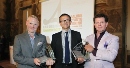 Adam Hatton, Daniele Maver e Gerry McGovern alla cerimonia del Car Design Award 2017