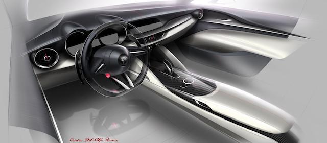 Schizzo originale della plancia di Alfa Romeo Stelvio