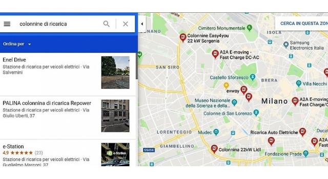 colonnine di ricarica delle auto elettriche segnalate su Google Maps