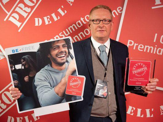 Pietro Nardi, Sales Director di Leasys alla premiazione di Be Free come Prodotto dell'anno 2019