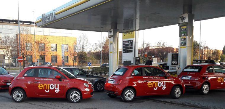 Nuovo carburante A20 Eni FCA meno emissioni test Fiat 500 car sharing Enjoy