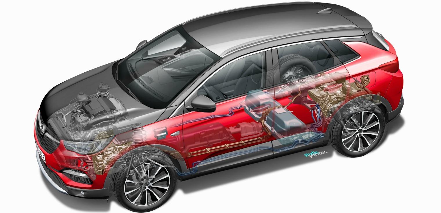 motore nuova Opel Grandland X Hybrid4