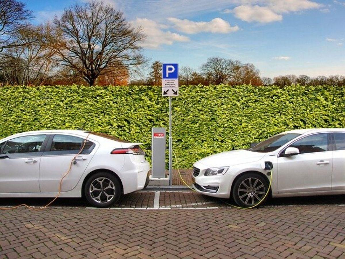 due auto elettriche si ricaricano a una postazione pubblica